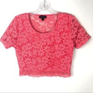 TOPSHOP Pink/Melon Lace Crop Top